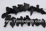 CTD396 Top drilled 10*25mm - 20*35mm nuggets black tourmaline beads