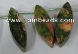 CTD42 Top drilled 10*25mm � 17*50mm marquise unakite gemstone beads
