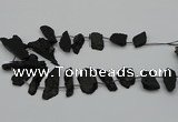CTD438 Top drilled 10*25mm - 20*45mm freeform black tourmaline beads