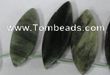 CTD44 Top drilled 10*28mm � 18*50mm marquise green hair stone beads