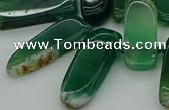 CTD463 15.5 inches 10*20mm - 12*35mm sticks green agate beads