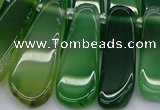 CTD469 15.5 inches 12*25mm - 15*45mm freeform green agate beads