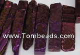 CTD535 Top drilled 10*30mm - 10*65mm wand plated agate beads