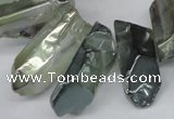 CTD543 Top drilled 10*20mm - 12*35mm nuggets plated quartz beads