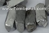 CTD548 Top drilled 12*25mm - 12*45mm nuggets plated quartz beads