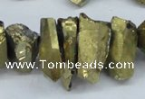 CTD549 Top drilled 12*20mm - 12*25mm nuggets plated quartz beads