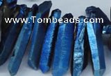 CTD553 Top drilled 8*25mm - 8*40mm wand plated quartz beads