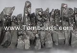 CTD557 Top drilled 6*15mm - 10*40mm wand plated agate beads