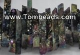 CTD559 Top drilled 6*15mm - 10*40mm wand plated agate beads