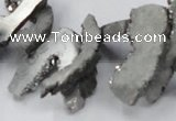 CTD562 Top drilled 10*20mm - 10*40mm freeform plated agate beads