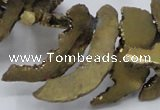 CTD564 Top drilled 10*20mm - 10*40mm freeform plated agate beads