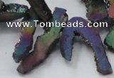 CTD565 Top drilled 10*20mm - 10*40mm freeform plated agate beads
