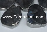 CTD571 Top drilled 20*30mm - 30*45mm freeform plated agate beads