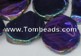 CTD575 Top drilled 20*30mm - 30*45mm freeform plated agate beads