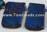 CTD655 Top drilled 15*25mm - 25*40mm freeform plated quartz beads