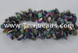 CTD777 Top drilled 10*16mm - 12*20mm nuggets plated quartz beads