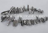 CTD783 Top drilled 8*18mm - 8*35mm nuggets plated quartz beads