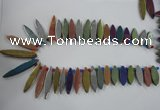 CTD825 Top drilled 10*30mm - 10*60mm marquise plated agate beads