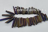 CTD834 15.5 inches 6*30mm - 8*65mm sticks plated agate beads
