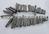 CTD835 Top drilled 6*25mm - 8*55mm sticks plated agate beads