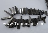 CTD836 Top drilled 6*25mm - 8*55mm sticks plated agate beads