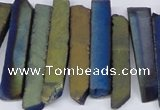 CTD842 Top drilled 6*25mm - 8*55mm sticks plated agate beads