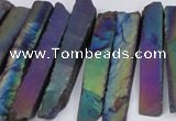 CTD843 Top drilled 6*25mm - 8*55mm sticks plated agate beads