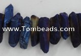 CTD913 Top drilled 5*15mm - 6*25mm wand plated quartz beads