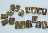 CTD965 Top drilled 22*30mm trapezoid agate gemstone beads