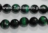 CTE1012 15.5 inches 8mm faceted round dyed green tiger eye beads