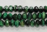 CTE1021 15.5 inches 5*8mm faceted rondelle dyed green tiger eye beads