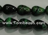 CTE1032 15.5 inches 12*16mm teardrop dyed green tiger eye beads