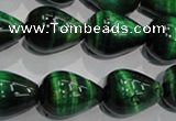 CTE1033 15.5 inches 15*20mm teardrop dyed green tiger eye beads