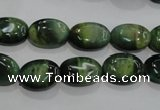 CTE1048 15.5 inches 10*14mm oval dyed green tiger eye beads