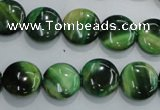 CTE1062 15.5 inches 12mm flat round dyed green tiger eye beads