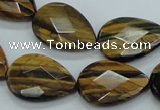 CTE111 15.5 inches 16*22mm faceted & flat teardrop yellow tiger eye beads