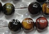 CTE1127 15 inches 10mm round mixed tiger eye & white crystal beads