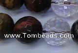 CTE1134 15 inches 12mm faceted round mixed tiger eye & white crystal beads