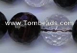 CTE1135 15 inches 14mm faceted round mixed tiger eye & white crystal beads