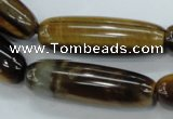 CTE115 15.5 inches 12*40mm cylinder yellow tiger eye beads wholesale