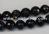 CTE1188 15.5 inches 10mm faceted round blue tiger eye beads