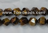 CTE1202 15 inches 10mm faceted nuggets yellow tiger eye beads