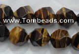 CTE1204 15 inches 14mm faceted nuggets yellow tiger eye beads