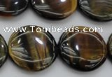 CTE1351 15.5 inches 25mm flat round yellow & blue tiger eye beads