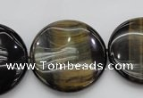 CTE1352 15.5 inches 30mm flat round yellow & blue tiger eye beads
