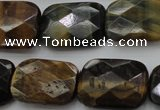 CTE1389 15.5 inches 18*25mm faceted rectangle yellow & blue tiger eye beads