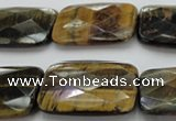 CTE1390 15.5 inches 22*30mm faceted rectangle yellow & blue tiger eye beads
