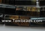 CTE1394 15.5 inches 10*30mm faceted tube yellow & blue tiger eye beads