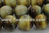CTE1446 15.5 inches 16mm round golden & blue tiger eye beads