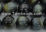 CTE1452 15.5 inches 8mm round golden & blue tiger eye beads